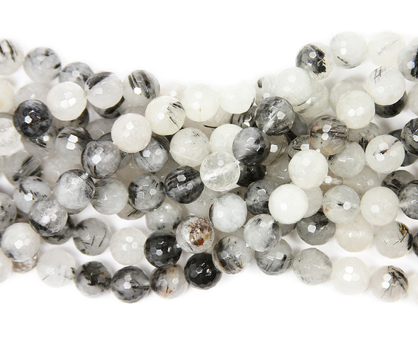 10mm Rutilated Quartz Faceted Round Beads