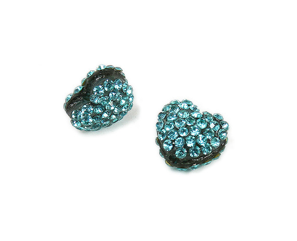 11x13mm  Pack of 2 sea blue CZ puffed heart spacer beads