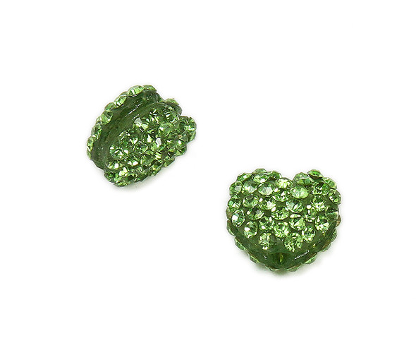 11x13mm  Pack of 2 Green CZ puffed heart spacer beads