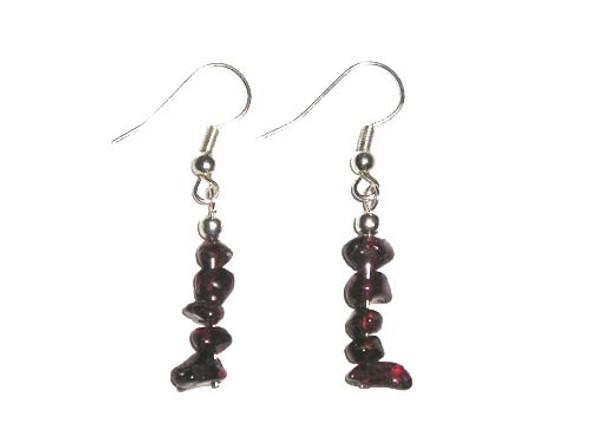 1 3/4 inches long  pack of 5 pairs Garnet earrings