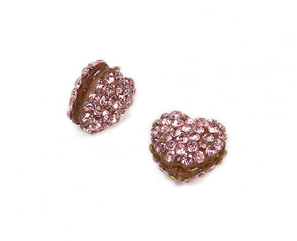 11x13mm  Pack of 2 pink CZ puffed heart spacer beads
