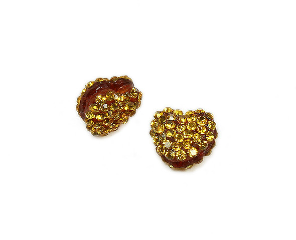 11x13mm  Pack of 2 golden yellow CZ puffed heart spacer beads