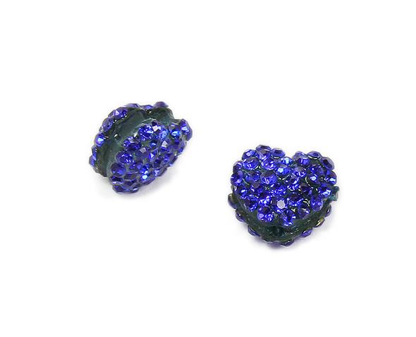 11x13mm  Pack of 2 deep blue CZ puffed heart spacer beads