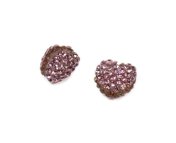 11x13mm  Pack of 2 light purple CZ puffed heart spacer beads