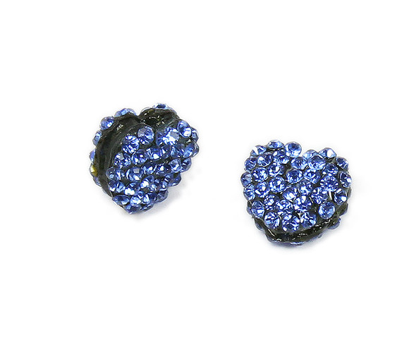 11x13mm  Pack of 2 blue CZ puffed heart spacer beads