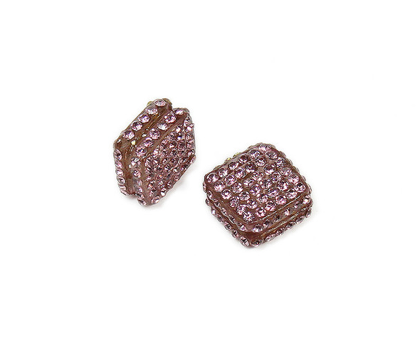 18x18mm  Pack of 2 Purple CZ diamond spacer beads