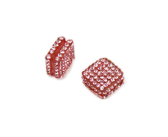 18x18mm  Pack of 2 Bright pink CZ diamond spacer beads