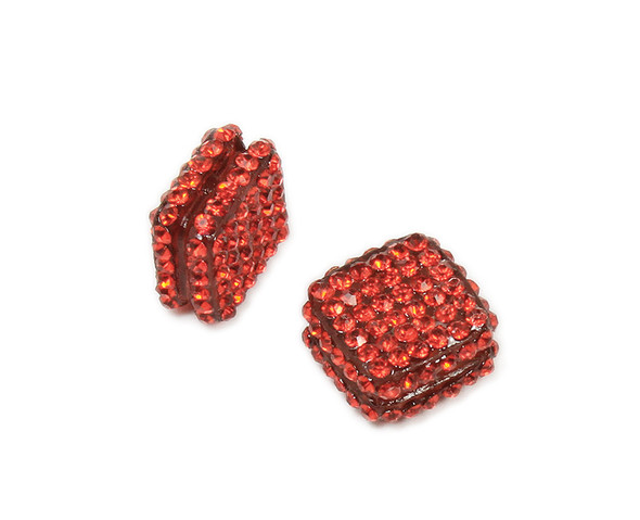 18x18mm  Pack of 2 Red CZ diamond spacer beads