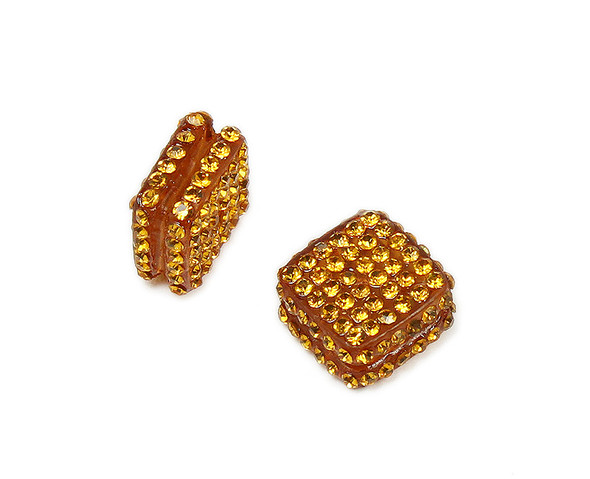 18x18mm  Pack of 2 Golden Yellow CZ diamond spacer beads