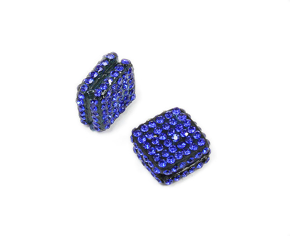 18x18mm  Pack of 2 Deep blue CZ diamond spacer beads