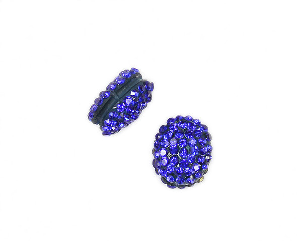 13x15mm  Pack of 2 deep blue CZ puffed oval spacer beads