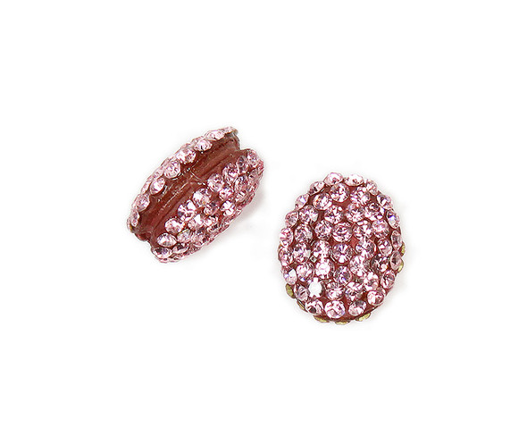 13x15mm  Pack of 2 pink CZ puffed oval spacer beads