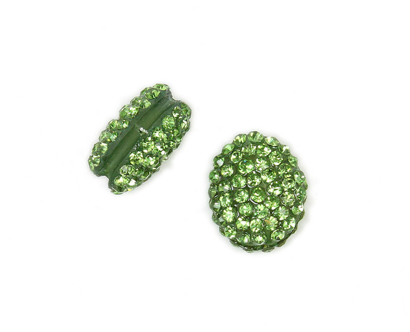 13x15mm  Pack of 2 green puffed oval spacer beads