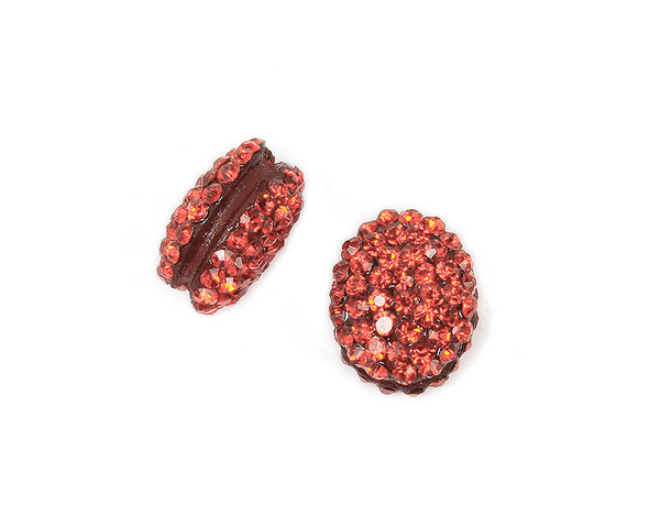 13x15mm  Pack of 2 red puffed oval spacer beads