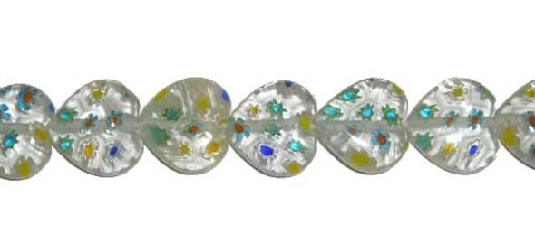 12x12mm  blue flowers Millefiori glass heart shaped beads