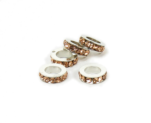 11mm  pack of 5 Champagne peach CZ large hole wheel spacers