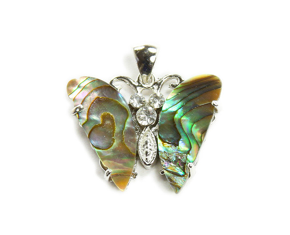 24x30mm Abalone shell butterfly pendant with CZ