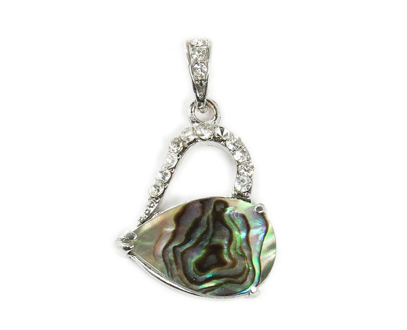 25x20mm Abalone Shell Heart Drop Cz Pendant
