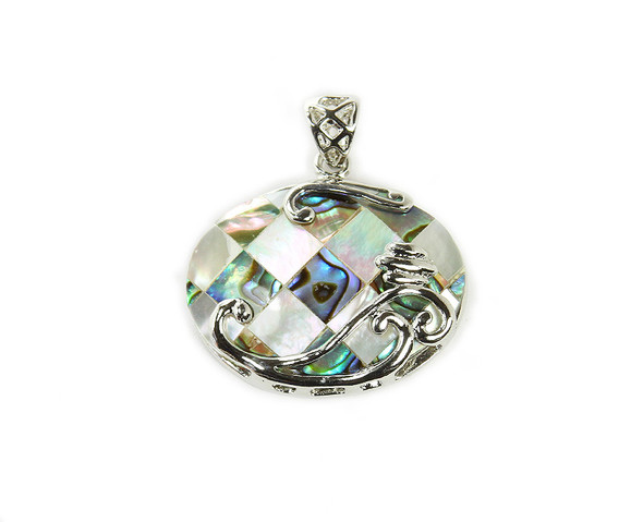 25x33mm Abalone shell and MOP mosaic oval pendant