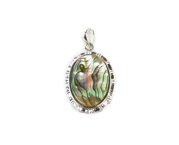 25x30mm Abalone Shell Oval Pendant With Fancy Metal Frame