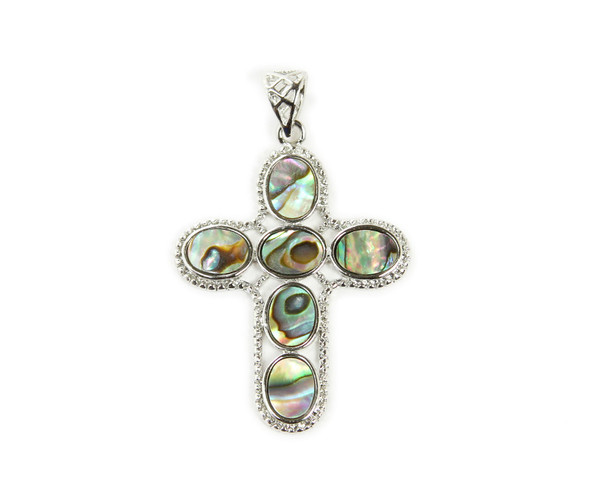 33x40mm Abalone shell cross oval piece pendant