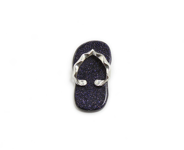 23x40mm Blue goldstone slipper pendant