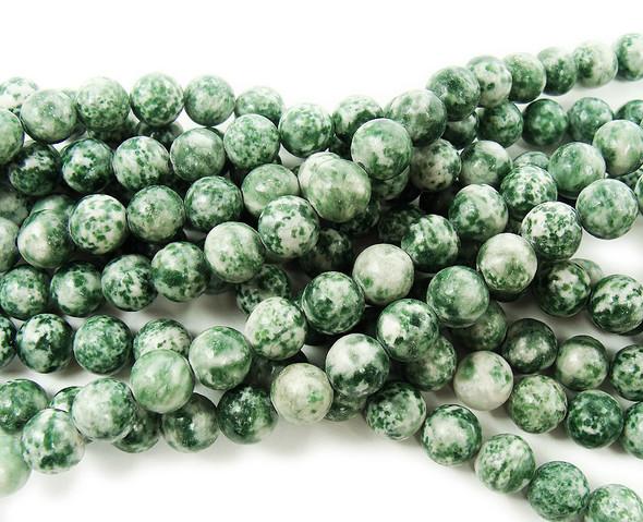 8mm Green Spot Jasper Round Beads