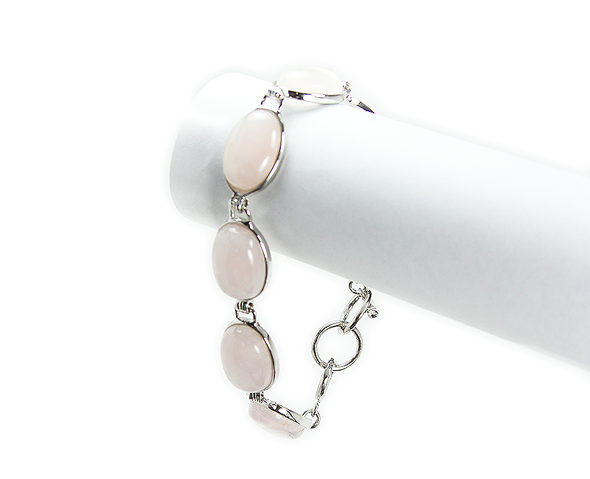 one size fits all Rose quartz oval bracelet