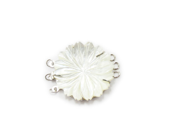 30mm White Mop Shell Carved Daisy Flower Triple-Strand Clasp
