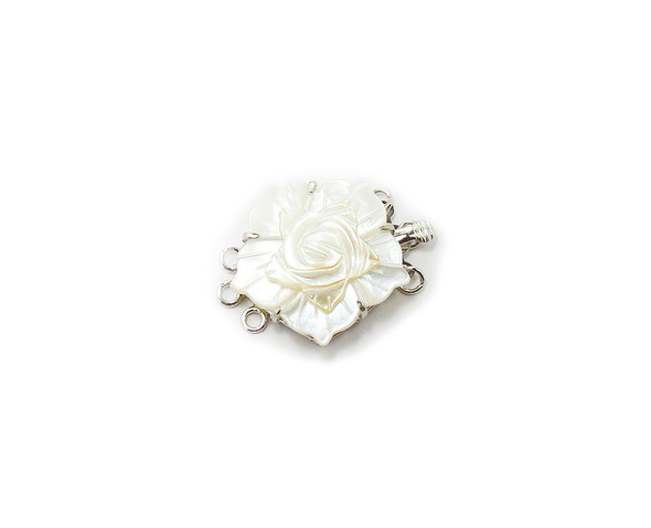 24mm White Mop Shell Carved Flower Triple-Strand Clasp