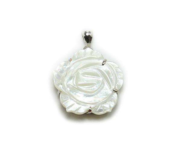 24mm White Mop Shell Flower Pendant