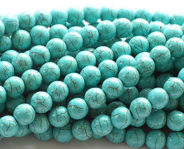 10mm 14.5 Inches Turquoise/Howlite Round Beads