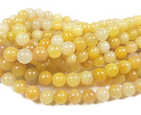 8mm Yellow Jade Round Beads