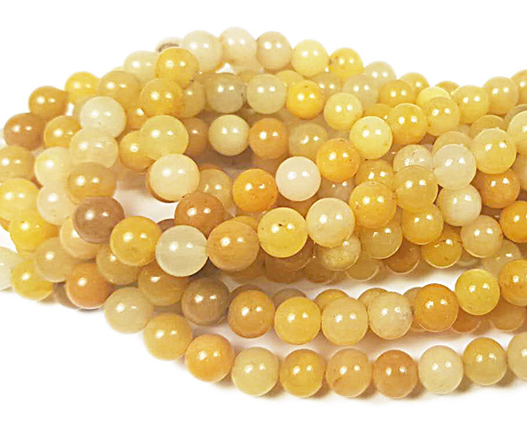 8mm Yellow jade round beads