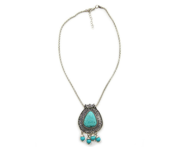 45x50mm  16 inches Turquoise howlite fancy teardrop pendant necklace