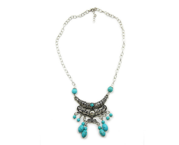 60x80mm  16 inches Turquoise howlite fancy collar pendant necklace