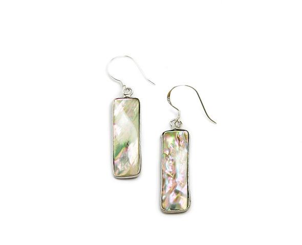 10x25mm Abalone shell long rectangle earrings
