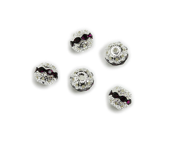 "8mm  pack of 10  deep purple Cubic Zirconia ""CZ"" spacer round beads in silver"