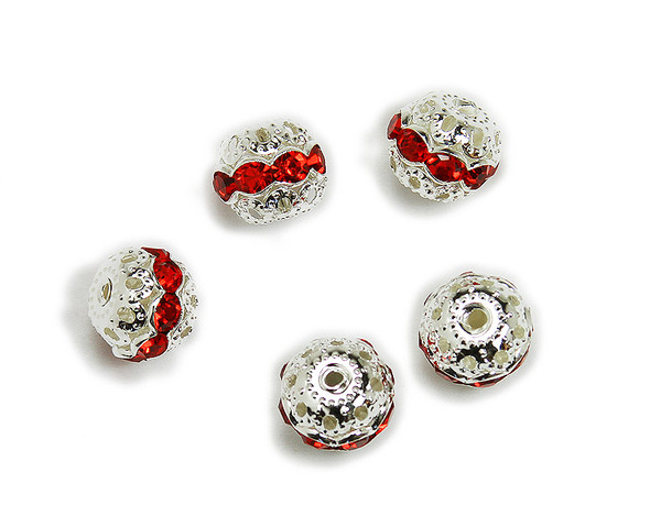 10mm  pack of 10  red CZ spacer round beads in silver