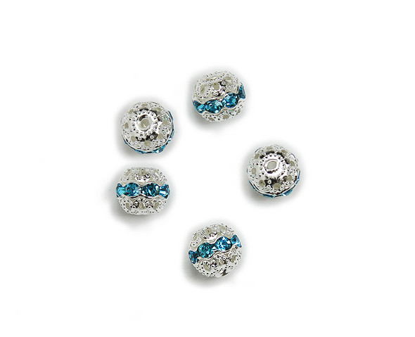10mm  pack of 10  sea green CZ spacer round beads in silver