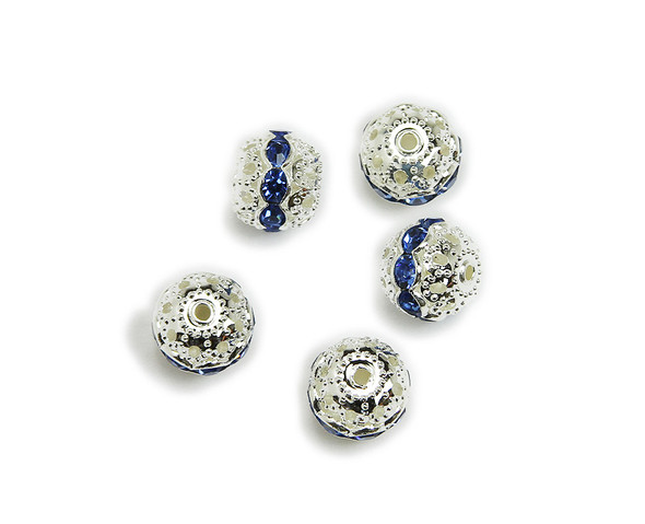 10mm  pack of 10  blue CZ spacer round beads in silver