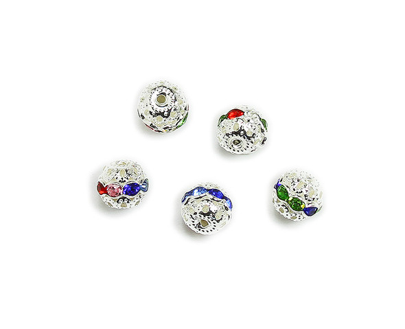 "8mm  pack of 10  multi color Cubic Zirconia ""CZ"" spacer round beads in silver"