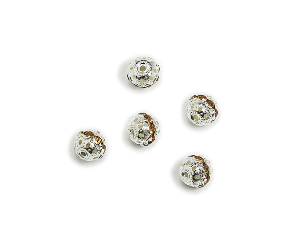 "8mm  pack of 10  amber yellow Cubic Zirconia ""CZ"" spacer round beads in silver"