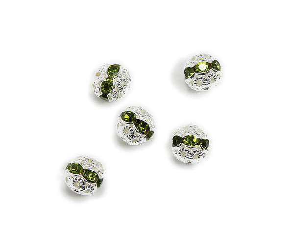 "8mm  pack of 10  green Cubic Zirconia ""CZ"" spacer round beads in silver"