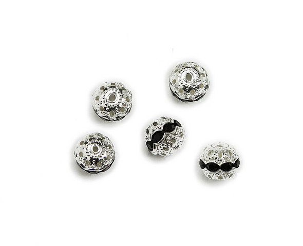 "8mm  pack of 10  black onyx Cubic Zirconia ""CZ"" spacer round beads in silver"