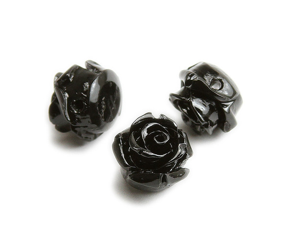 10mm  pack of 10 Black natural coral rose flower beads