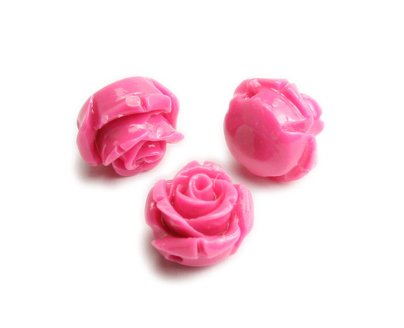10mm Pack Of 10 Hot Pink Natural Coral Rose Flower Beads