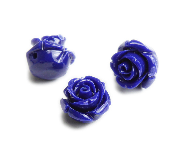10mm Pack Of 10 Lapis Blue Natural Coral Rose Flower Beads