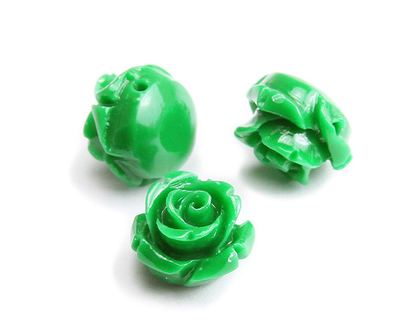 12mm Pack Of 10 Emerald Green Natural Coral Rose Flower Beads