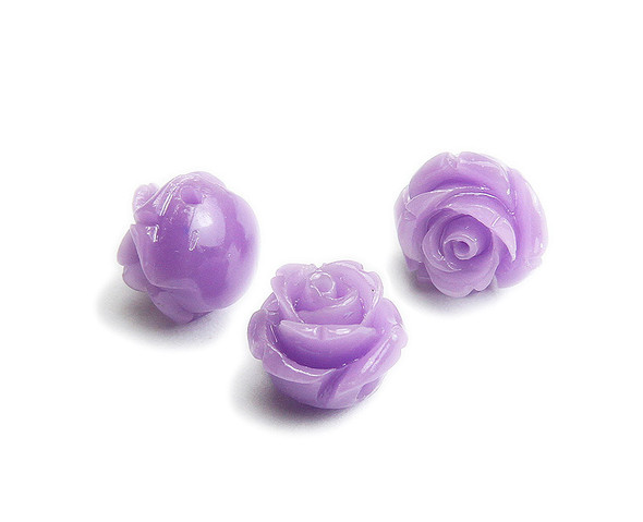 12mm  pack of 10 Lavender purple natural coral rose flower beads